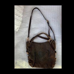 Michael Kors brown  reptile embossed purse